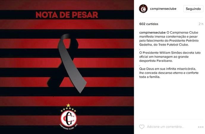 Campinense lamenta morte de Petrônio Gadelha (Foto: Divulgação/Campinense)