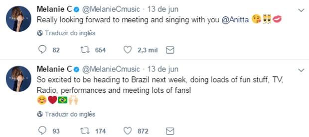 Mel C fala no Twitter sobre vinda ao Brasil e dueto com Anitta (Foto: Reprodução/Twitter)
