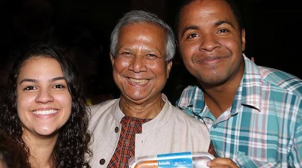 Mariana Fernandes, Muhammad Yunus e Hamilton Henrique (Foto: Divulgação)