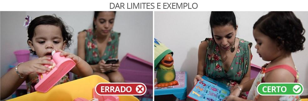 Dar limites e exemplo - Em cena dramatizada, pais mostram duas formas de lidar com a questão.  (Foto: Marcelo Brandt/G1)