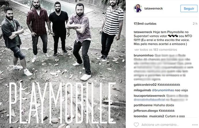 Tatá Werneck faz post em rede social para pedir votos para Playmobille (Foto: Internet/Reprodução)