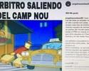 "Com foto dos ""Simpsons"", esposa de Di María critica árbitro de Barça x PSG"