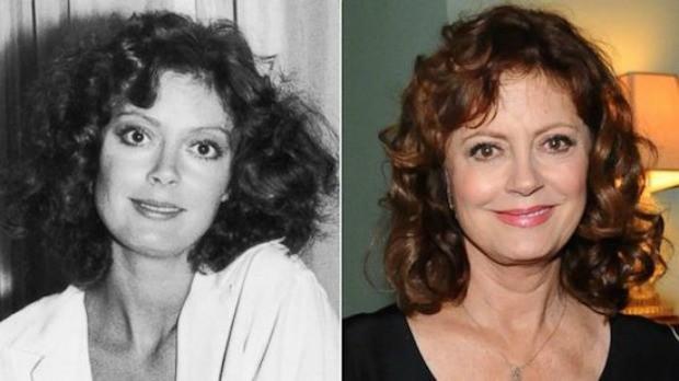 Maquiagem de Susan Sarandon, de 69 anos, antes e hoje em dia: blush leve e olhos menos marcados. (Foto: Reproduo/ 40 Forever)