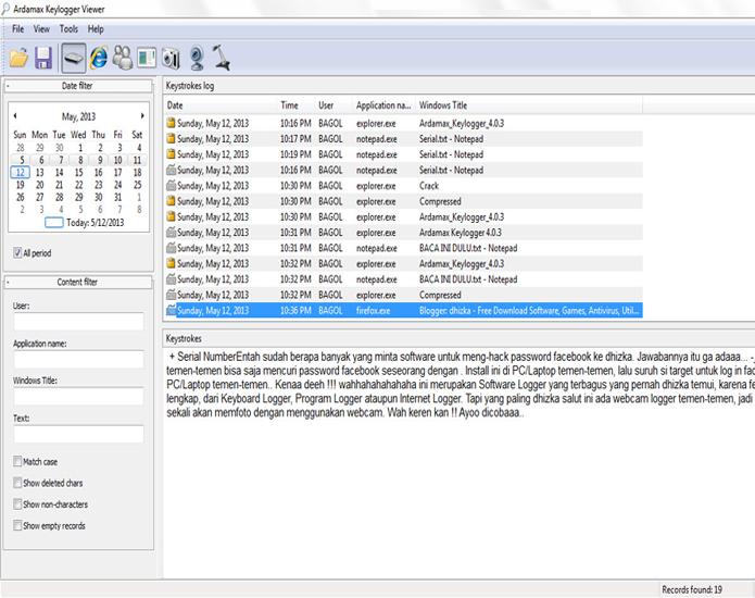 Exemplo do Ardamax Keylogger, dispositivo virtual de monitoramento de teclas