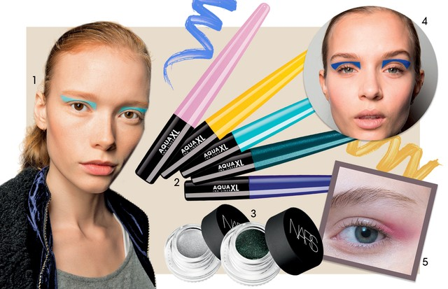 1. Prabal Gurung/inverno 2017/18 2. Delineador Aqua Xl, R$ 119, Make Up For Ever 3. Eye Paint Cor Snake Eyes, R$ 139, Nars 4. Prabal Gurung/inverno 2017/18 5. Reinaldo Lourenço/ Verão 2017/18 (Foto: Nicolas Kantor, Franklin Rutz, Getty Images, Imaxtree, Thinkstock e Divulgação)