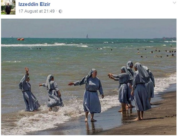 Foto de freiras na praia foi postada pelo imã de Florença, Izzedin Elzir (Foto: Reprodução/Facebook/ Izzedin Elzir)