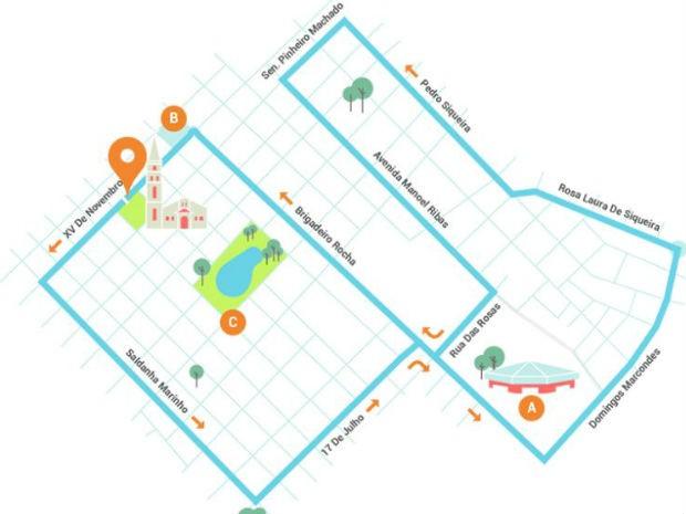 mapa corrida guarapuava (Foto: Divulgação / Prefeitura de Guarapuava)