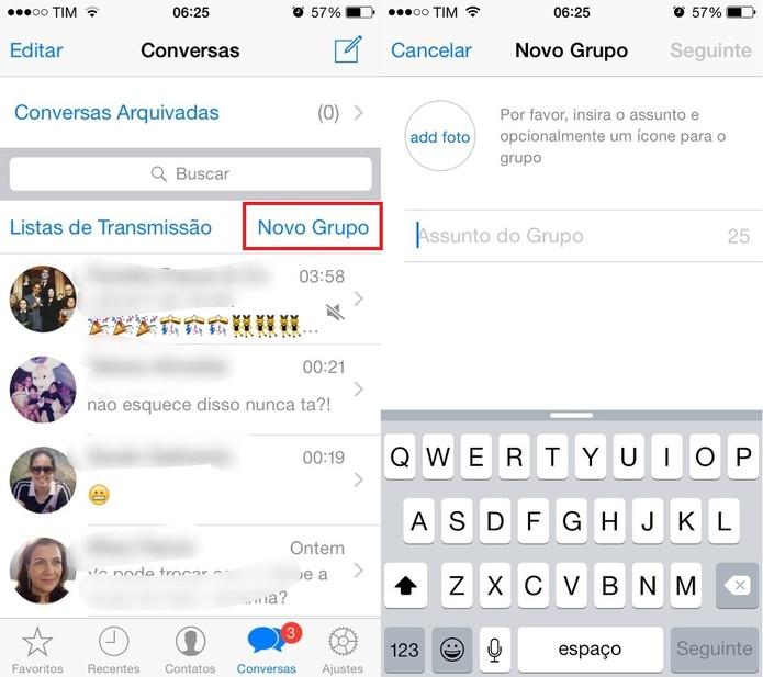 Crie grupos de conversas no Whatsapp (Foto: Reprodução/Juliana Pixinine)