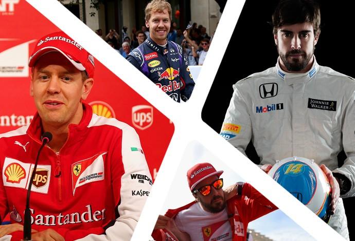 Montagem Vettel e Allonso (Foto: Montagem sobre foto da Getty Images)