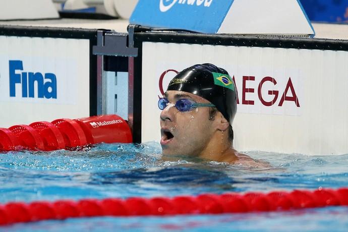 Felipe França incrédulo após ver que perdeu a medalha por um centésimo (Foto: Satiro Sodré / SSPress)
