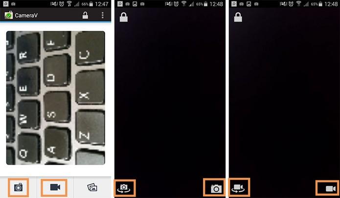 Botões de acesso para registrar fotos e vídeos com o app (Foto: Reprodução/Barbara Mannara)
