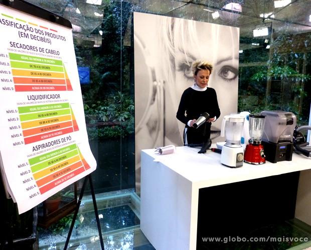 Ana Maria mostra alguns eletrodomésticos barulhentos (Foto: Mais Você / TV Globo)