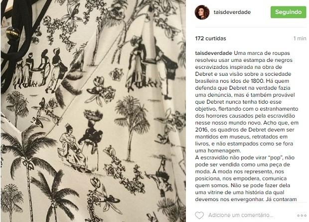Post de Tais Araújo (Foto: Reprodução)