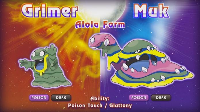 Pokémon Sun & Moon trazem novas formas para os clássicos Grimer e Muk (Foto: Reprodução/YouTube)