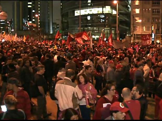 Manifestação em SP (GNews) (Foto: Divulgação GloboNews)