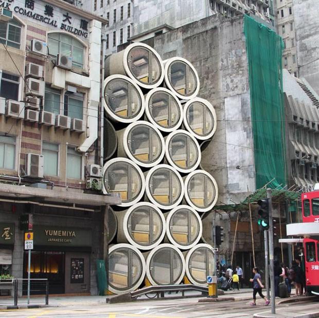 Arquiteto japonês cria apartamento em duto de concreto (Foto: Divulgação)
