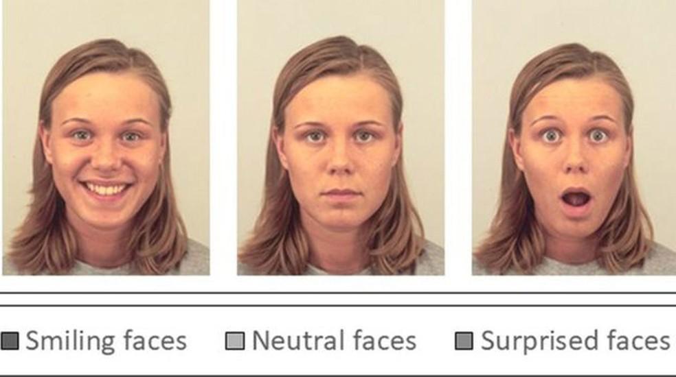 Três dos rostos mostrados aos participantes do experimento e o julgamento final dos voluntários  (Foto: Divulgação)