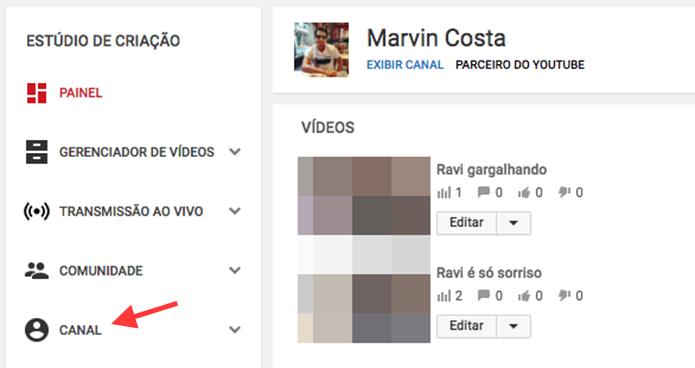 Acesso para opções de um canal do YouTube (Foto: Reprodução/Marvin Costa)