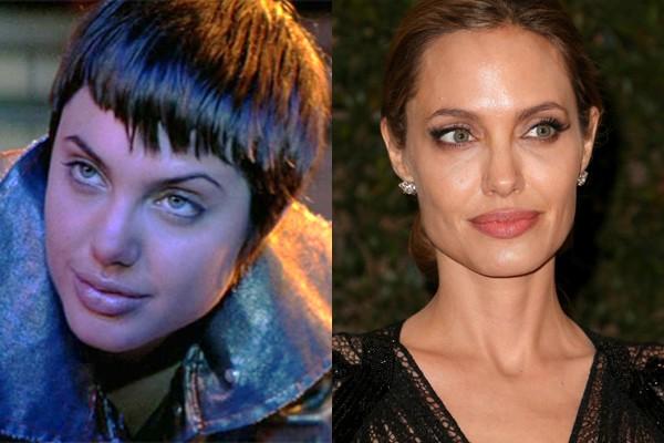 Angelina Jolie perdeu a cara de mocinha (Foto: Divulgação e Getty Images)