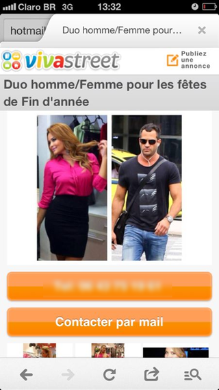 Geisy Arruda e Malvino Salvador em classificado erótico francês (Foto: Reprodução / vivastreet.com)