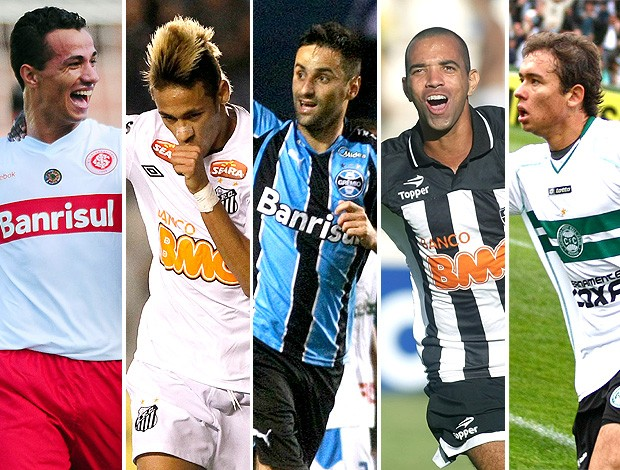 montagem Leandro Dami&#227;o Neymar Jonas Tardelli Keirrison artilheiros (Foto: Editoria de Arte / GLOBOESPORTE.COM)