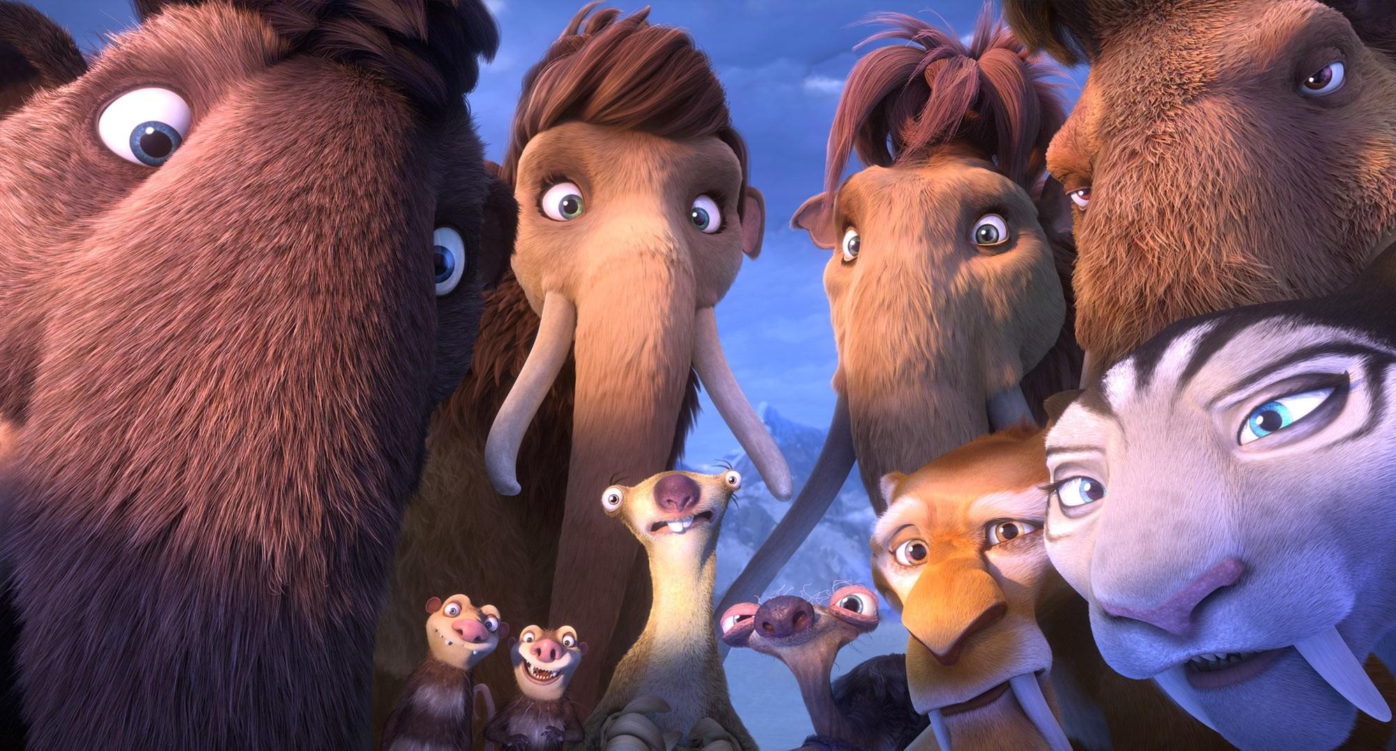 Os mamutes Julian, Amora, Ellie e Manny. Os irmãos gambás Crash e Eddie. As preguiças Sid e sua avó. Os tigres dente-de-sabre Diego e Shira (Foto: Fox)