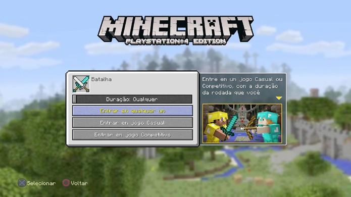 Ao entrar em uma sala já criada de batalha em Minecraft você não escolhe as regras (Foto: Reprodução/Rafael Monteiro)