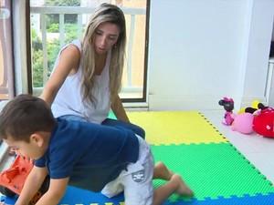 Bernardo ficou em casa após professor ficar doente (Foto: RBS TV/ Reprodução)