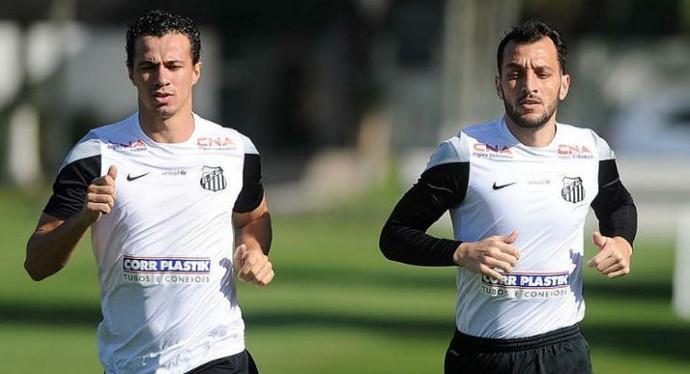 Leandro Damião e Edu Dracena, jogadores do Santos (Foto: Ricardo Saibun / Divulgação Santos FC)