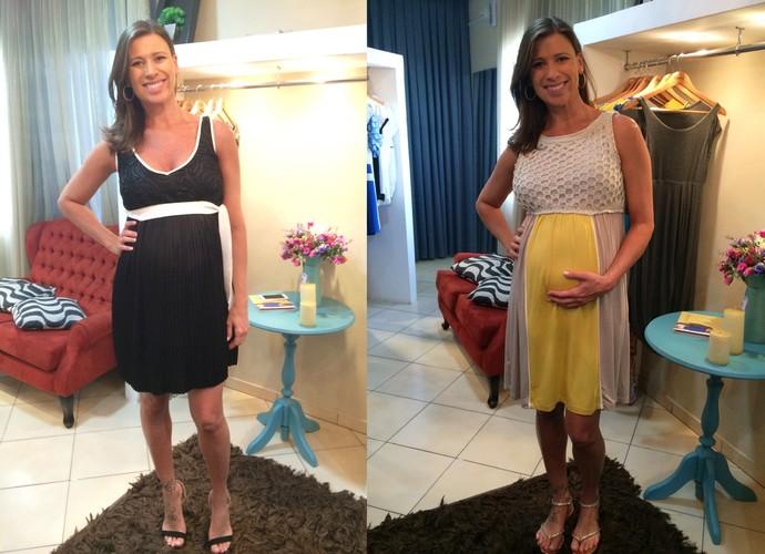 As gestantes devem utilizar vestidos que não fiquem curtos na frente (Foto: RBS TV/Divulgação)