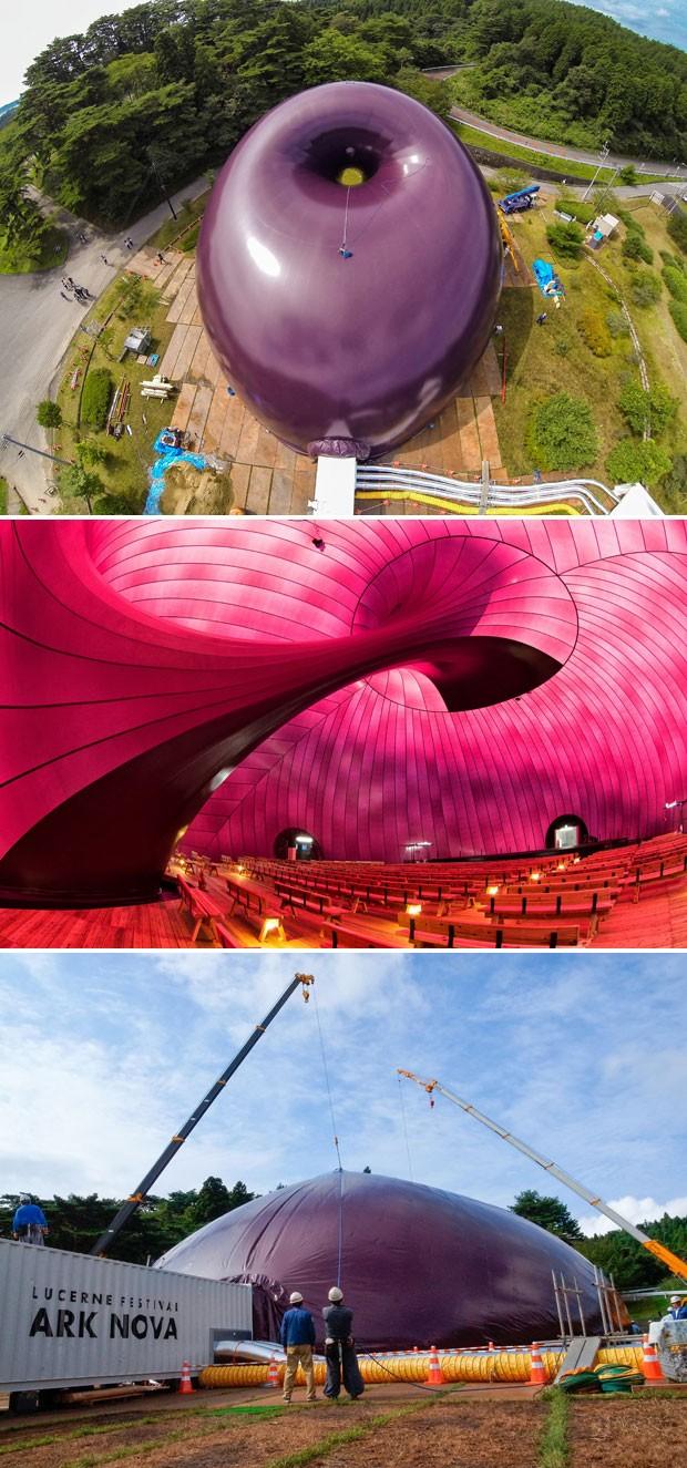 Imagens mostram a sala de concertos vista de fora e por dentro, e, mais abaixo, a estrutura ainda desinflada (Foto: AFP/Lucerne Festival Arknova 2013)