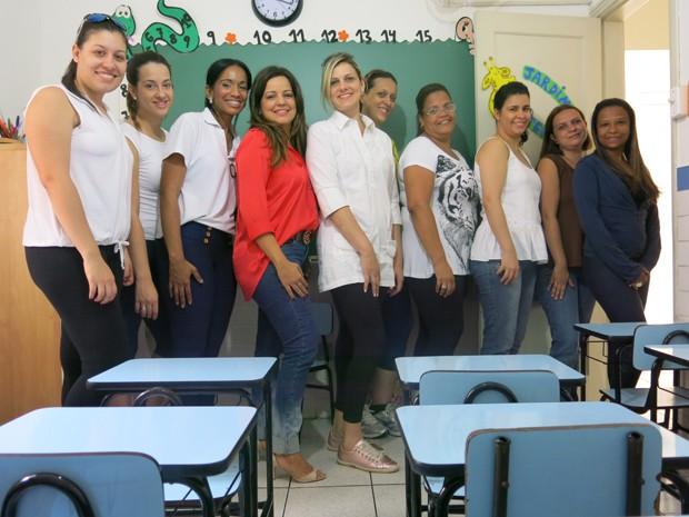 Diretora e professoras da escola (Foto: Antonio Marcos/G1)