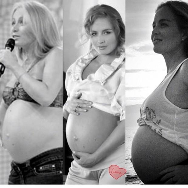 Angélica na gravidez dos três filhos: Joaqueim, Beníco e Eva (Foto: Reprodução/Instagram)