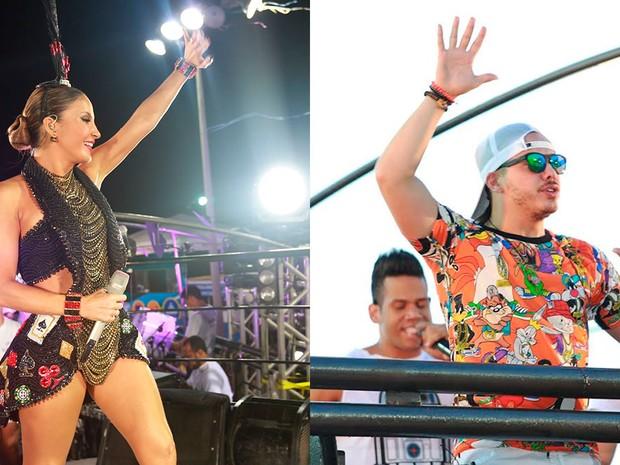 Claudia Leitte e Safadão são atrações da terça-feira (9) de carnaval em Salvador (Foto: Arte/G1)