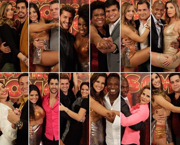 Montagem dos participantes do Dança dos Famosos (Foto: Domingão do Faustão / TV Globo)