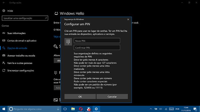 Usuário pode consultar requisitos antes de criar um PIN complexo no Windows 10 (Foto: Reprodução/Elson de Souza)