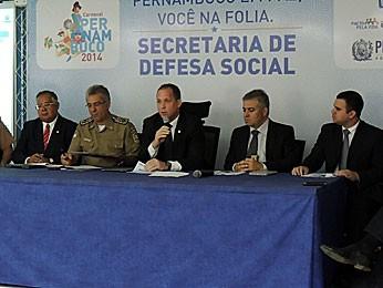 Coletiva da Secretaria de Defesa Social de Pernambuco -- Balanço do carnaval (Foto: Moema França / G1)