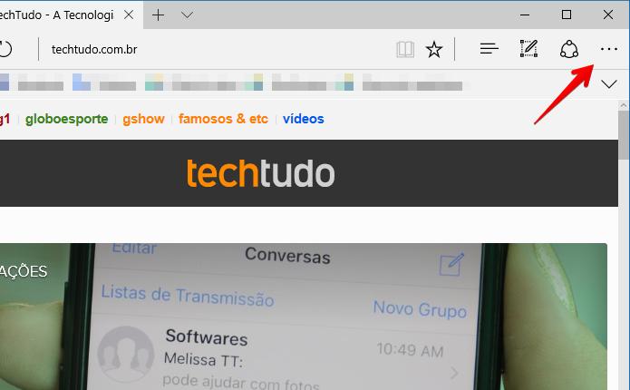 Acesse o menu do Microsoft Edge (Foto: Reprodução/Helito Bijora)
