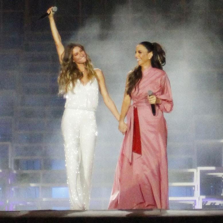 Gisele Bündchen e Ivete Sangalo juntas no Palco Mundo na abertura do Rock in Rio 2017 (Foto: Lucas Soares/Glamour)