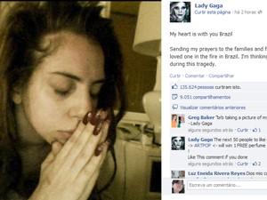 Lady Gaga divulga mensagem no Facebook sobre a tragédia em Santa Maria, RS (Foto: Reprodução/Facebook)