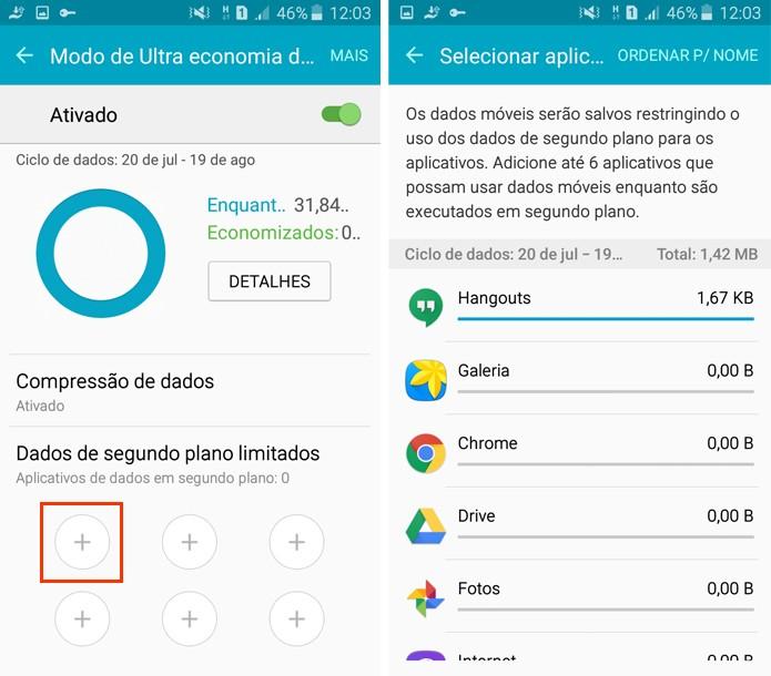 Escolha até seis aplicativos que poderão continuar usando os dados em segundo plano (Foto: Reprodução/Aline Batista)
