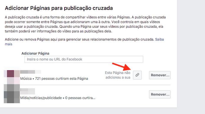 Opção para recolher um link de convite para publicação cruzada em uma página do Facebook (Reprodução/Marvin Costa)