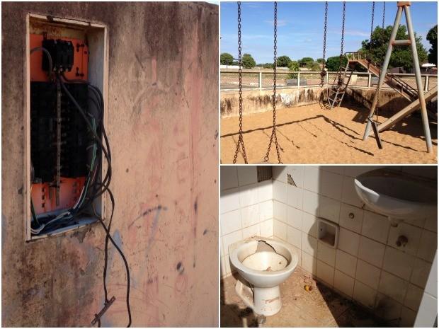 Moradores reclamam de brinquedos quebrados, fios elétricos expostos e banheiros depredados (Foto: Emily Costa/ G1 RR)