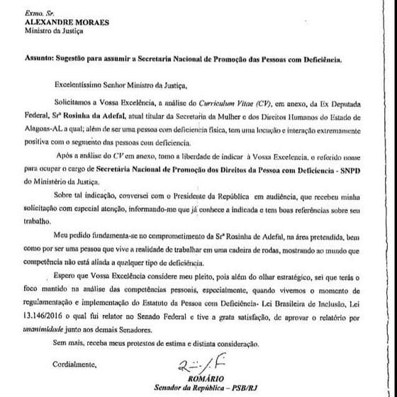 Ofício em que Romário indica nome para secretaria do Ministério da Justiça (Foto: Reprodução)