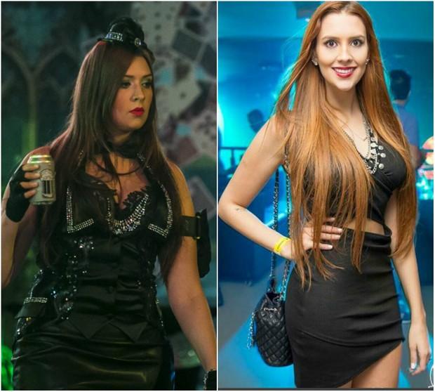 Tamires antes, no BBB15, e depois de perder 14 quilos (Foto: Paulo Belote/TV Globo/Divulgação)