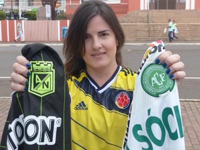 Chape x Nacional: colombiana Veronica, torcedora do Nacional que mora em Chapecó. (Foto: Cahê Mota)