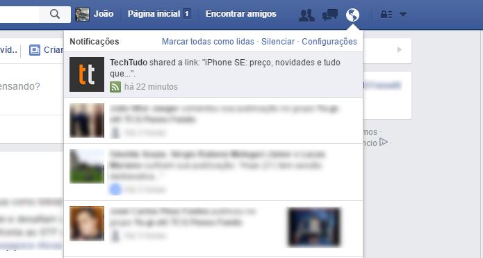 Notificações de páginas aparecem na barra do Facebook (Foto: Reprodução/Facebook)