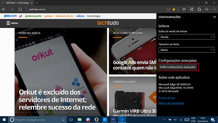Acesse as configurações avançadas do Microsoft Edge para ativar a Cortana (Foto: Reprodução/Elson de Souza)