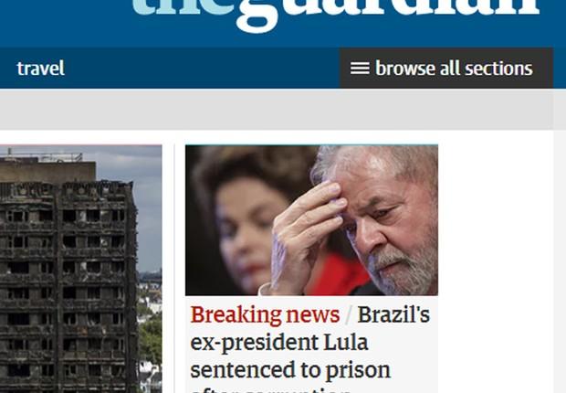 O site do The Guardian noticia a condenação do ex-presidente Luiz Inácio Lula da Silva (Foto: Reprodução/The Guardian)