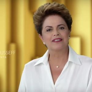 A presidente Dilma Rousseff em discurso no programa do PT na rede nacional de rádio e TV (Foto: Reprodução)